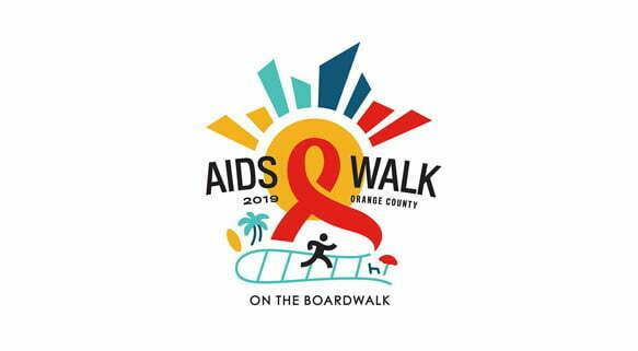 Logotipo de la Caminata contra el SIDA del Condado de Orange 2019 en el paseo marítimo
