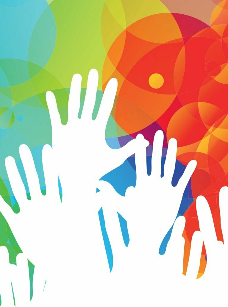 White hands on a colorful background for LGBTQ+ and HIV resources