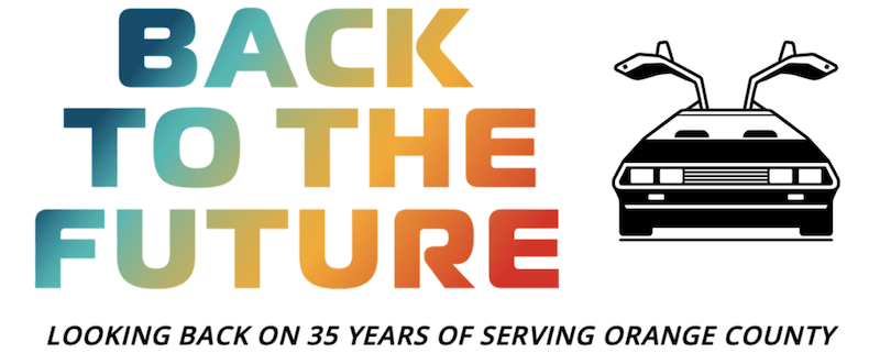 Back to the Future Gala logo for LGBTQ+ health services fundraiser
